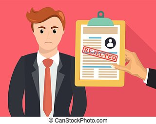 Boss hand hold rejected paper document
