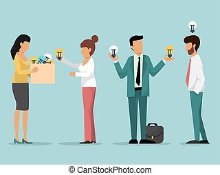 Boss help business men with idea bulbs vector illustration. ...