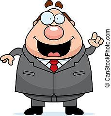 A happy cartoon boss with an idea.