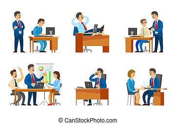 Boss Interviewing Woman Worker Candidate on Job