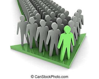 boss., leader., équipe, teamwork., compagnie
