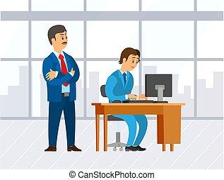 Boss Looking at Novice, Supervising Man Office - Office ...