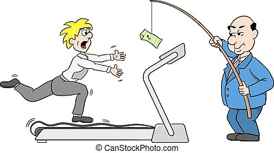 boss lures an employee with money - vector illustration of a...