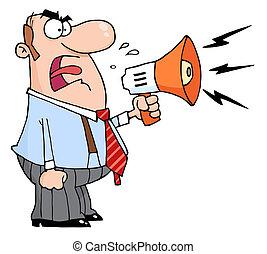 Caucasian Businessman Yelling Through A Megaphone