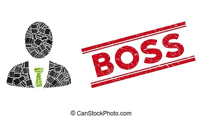 Boss Mosaic and Scratched Boss Stamp Seal with Lines