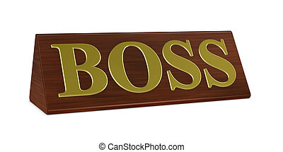 Boss nameplate - one 3d render of a nameplate with the word...