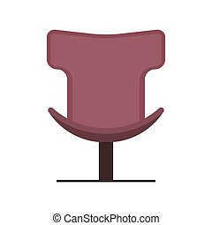 Boss office chair vector flat icon front view. Comfortable relaxation sign interior furniture equipment nobody