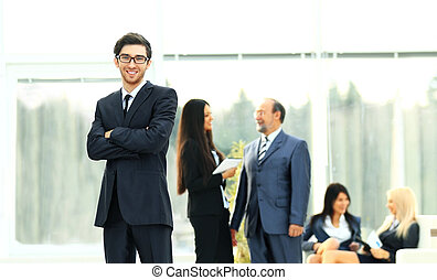 boss on the background of business team in office
