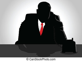 Boss On The Phone - Silhouette illustration of a man figure...