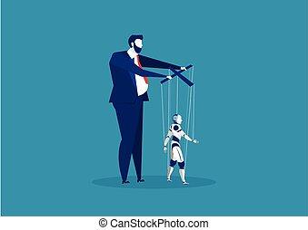 boss or business man controlling puppet Ai robot vector