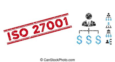 Boss Payments Mosaic and Grunge ISO 27001 Seal with Lines