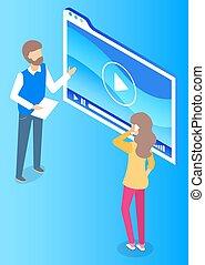 Boss Presenting Business Idea on Board to Employee