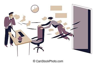 Boss sacking office worker, jobless character dismissal ...