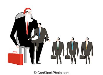 Boss Santa Claus False beard and red cap. Businessman in ...