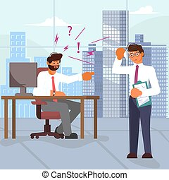Boss scolds and pointing index finger at employee on office background. Bad luck and stressful situations concept. Flat Art Vector illustration