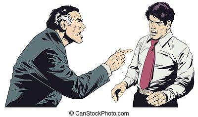 Boss scolds subordinate. Stock illustration. - Stock...