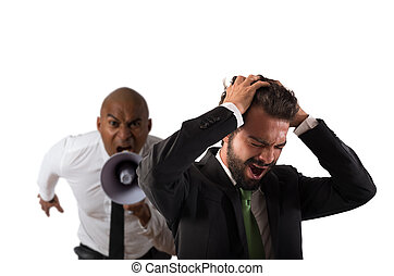 Boss scolds with megaphone a desperate employee with a verbal aggression