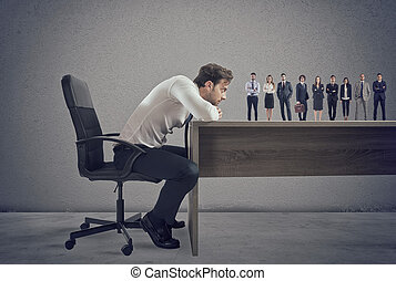 Boss selects suitable candidates to the workplace. Concept of recruitment and team