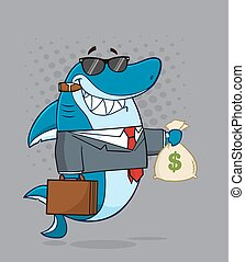Boss Shark Holding A Money Bag