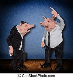 Boss shouting at employee - cartoon illustration