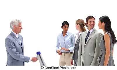Boss shouting with a megaphone at his employees