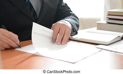 Boss signing a documents. Full HD