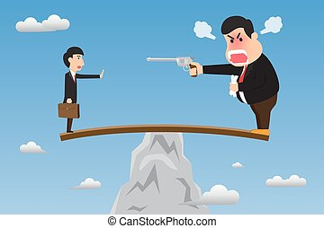 Boss stand on wood overhanging from escarpment cliff with...