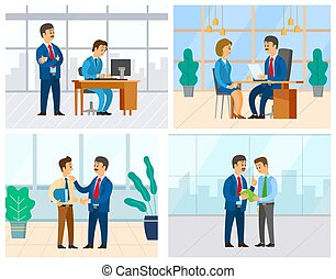 Boss and employee vector, woman in office answering question of employer. Supervising novice at work, director unsatisfied with completion of task