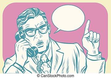Boss talking on the phone. Old illustration. Pop art retro...