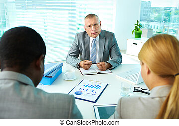 Boss talking
