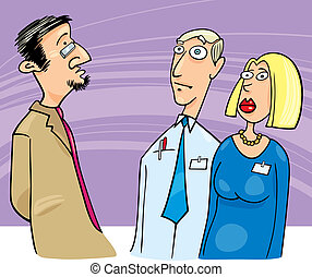Boss talking to employees - Illustration of boss talking to...