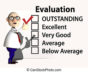 A cartoon boss or teacher puts a red check mark on a report card or evaluation for job performance.