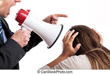 Boss threatening employee - Boss with megaphone shouting at...