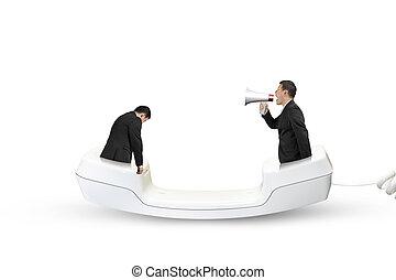 Boss using speaker yelling at employee with telephone...
