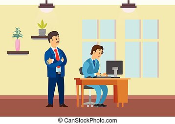 Boss Watching Working Process of Novice Worker