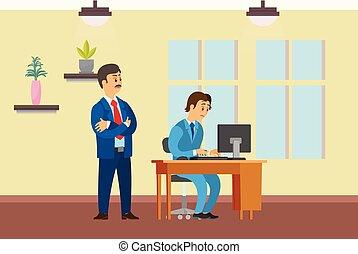 Boss Watching Working Process of Novice Worker - Boss ...