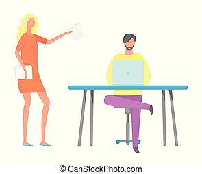 Boss Woman Talking to Employee on Computer at Work