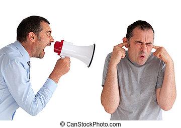 boss yelling at a subordinate megaphone - boss yelling at a...