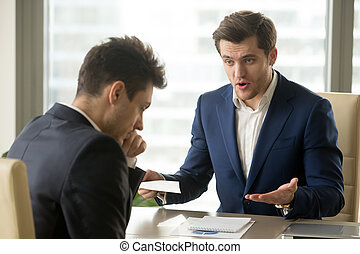 Boss yelling at employee for missing deadline, bad work...