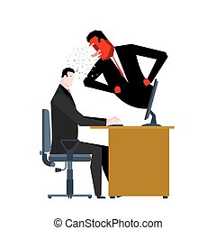 Boss yelling manager. director monitors work. Office life. Businessman screaming at subordinate. Desktop at computer. Vector illustration