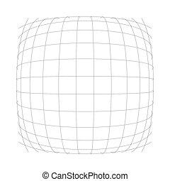 bosse, boursoufler, convexe, protrude, distendre, matrice, dilater, sphere., bombement, wire-frame., intersecter, gonfler, déformation, 3d, globe, houle, effet, chaîne, lines., grille, orbe, déformation, lignes, mesh., ou, sphérique, ampoule