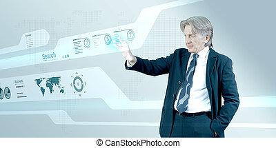 Bossy businessman using interface