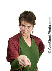 Bossy Lady - A bossy, angry looking middle aged woman...