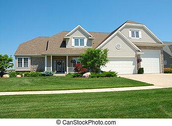 bostads, amerikan, lyx, hus