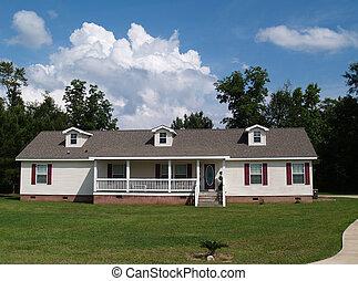 bostads, en, berättelse, ranch, hem