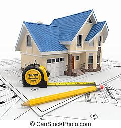 bostads, hus, med, redskapen, på, arkitekt, blueprints.