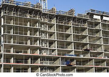 bostads, konstruktion, nymodig, plats, anläggning.