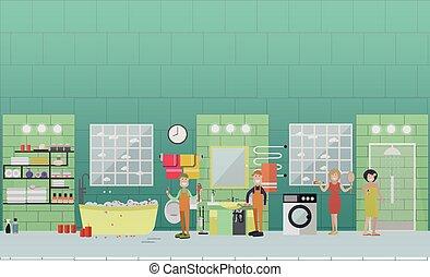 bostads, rörarbete, och, avleda, rensning, tjänsten, begrepp, vektor, lägenhet, illustration