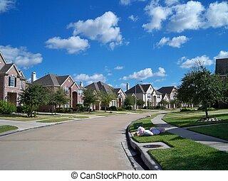 bostads, skräp, grannskap, dag