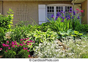 bostads, trädgård, landskapsarkitektur